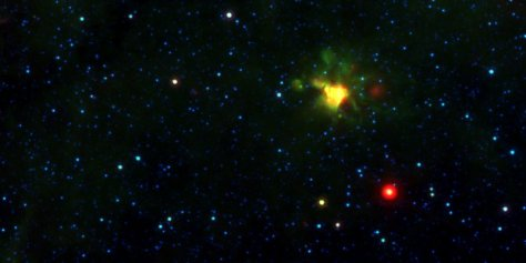 A yellowball image containing a planetary nebula.